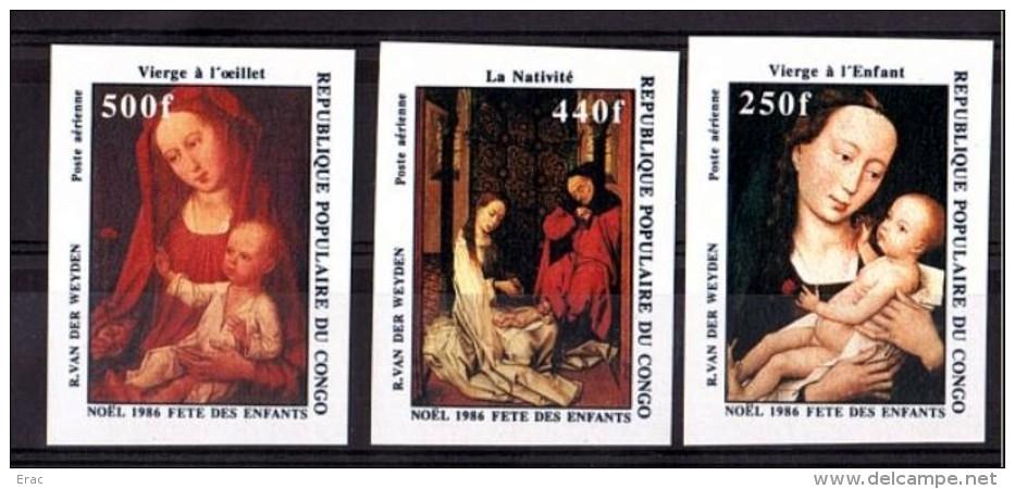 Noël - Peintures (van Der Weyden) - RP Congo 1986 - PA N° 358 à 360 - Non Dentelés - Neufs ** - Congo - Brazzaville