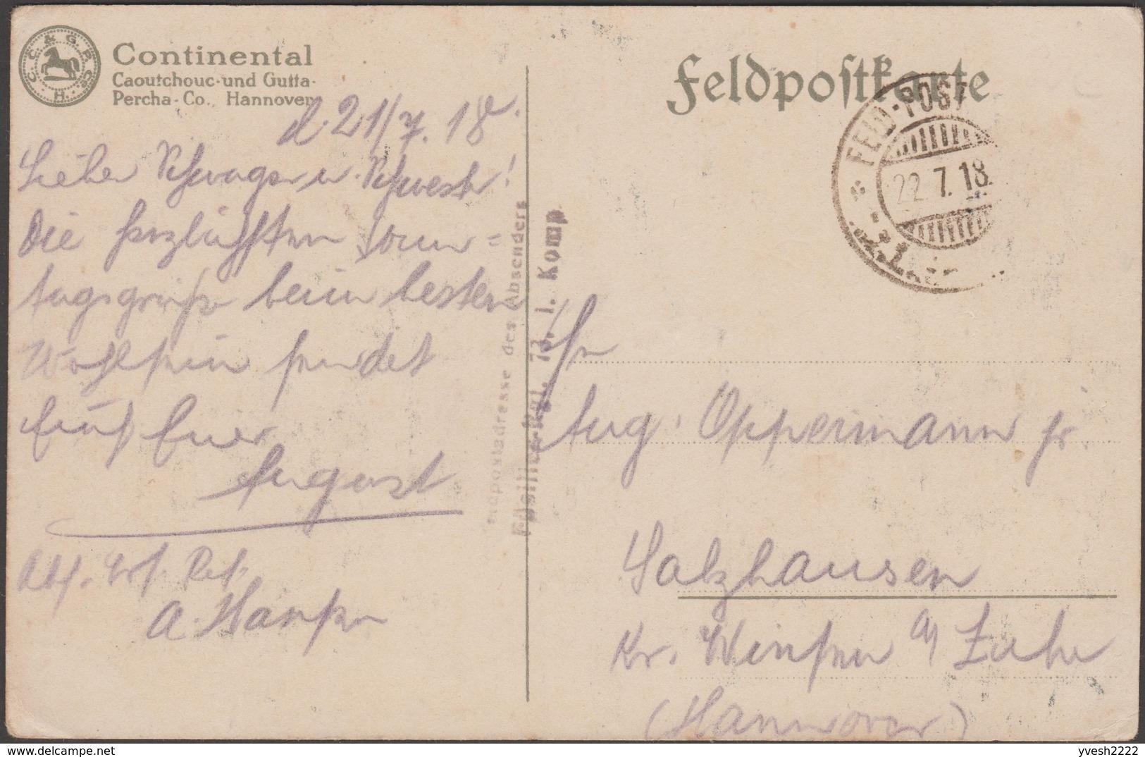Allemagne 1917. Carte De Franchise Militaire. Bande Dessinée, Pneus Continental. Macaques, Rhinocéros, Singes - Rhinozerosse