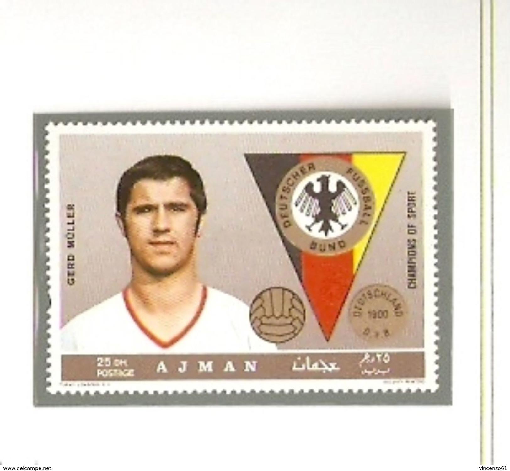 AJMAN GERMANY TEAM GEERD MULLER FIFA WORLD CUP 1974 GERMANY 1974 - Coppa Del Mondo