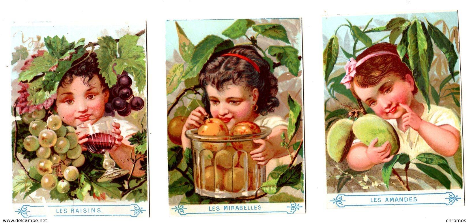 Lot 3 Chromos Imp. Appel, Petit St Thomas, Exposition 1878, Enfants Avec Fruits - Cromos