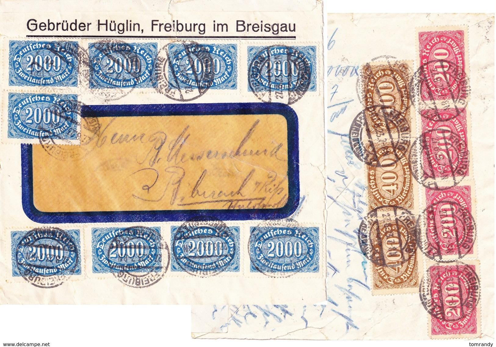 Freiburg 1923, Gebr. Hüglin, Brief Inflation - Deutschland