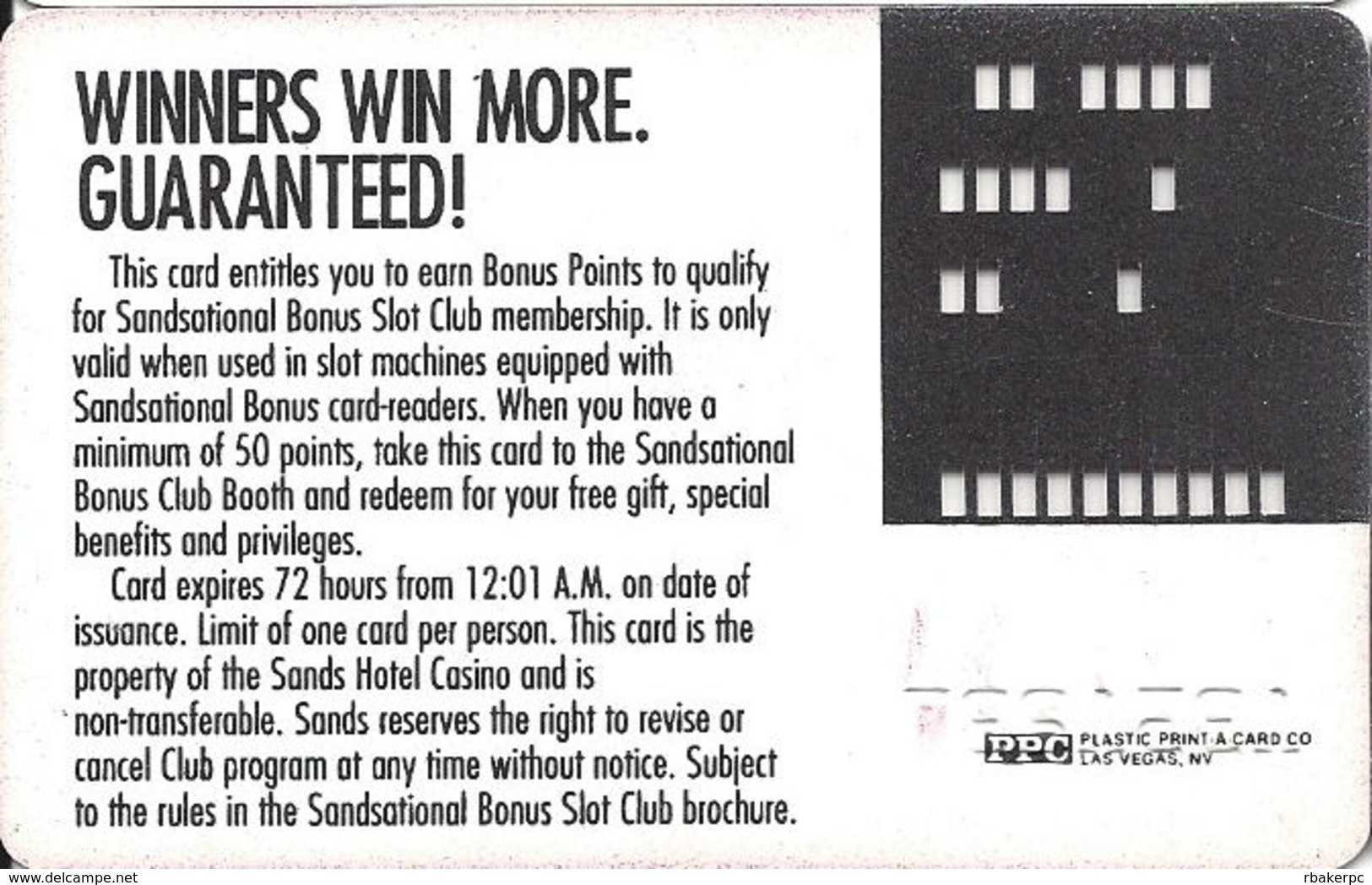 Sands Casino - Las Vegas, NV - Slot Card - Casino Cards