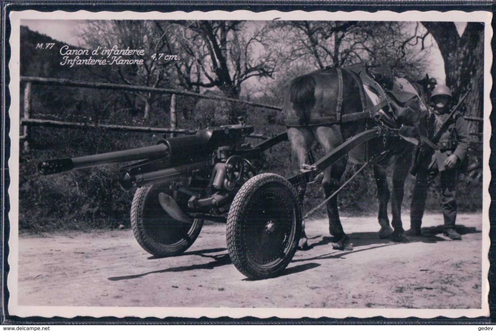 Armée Suisse, Canon D'Infanterie 4,7 Cm Tiré Par Un Cheval (77) Petit Pli D'angle - Equipment