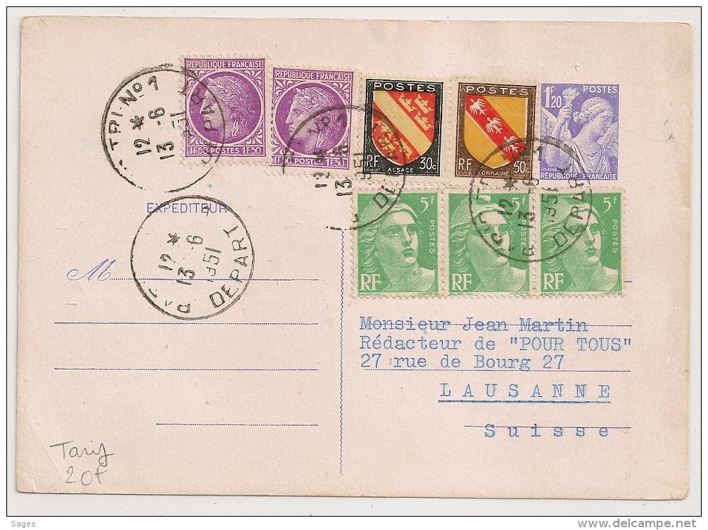 TB Affranchissement à 20F Pour La Suisse, ENTIER IRIS à 1F20. PARIS TRI N°1 DEPART. 1951. - Postmark Collection (Covers)