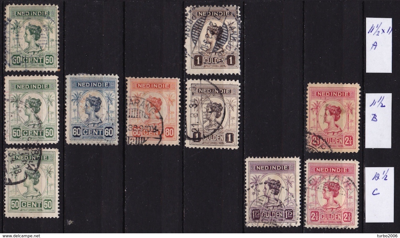 Ned. Indië: 1913-31 Koningin Wilhelmina Tandingen A B C NVPH 129 / 134 - Indes Néerlandaises