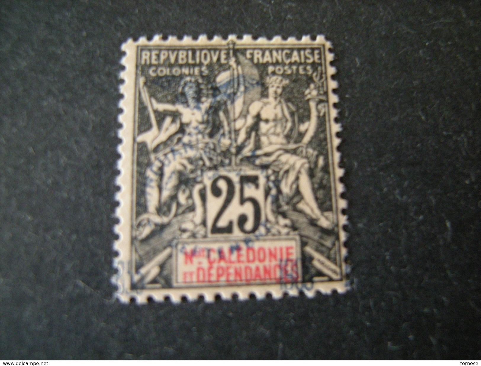 N-LLE CALEDONIE - 1903, Fournier Rare, Cent. 25 ,  N.75 Surchar., MLH* TTB - Ungebraucht