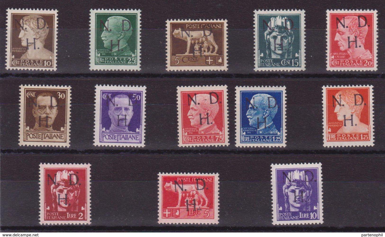 Occ. Italiane - Jugoslavia - Primosten - 1944 Serie Cpl. Di 13 Val. Con Soprastampa A Mano In Caratteri Tipografici. Enc - 9. Occupazione 2a Guerra (Italia)