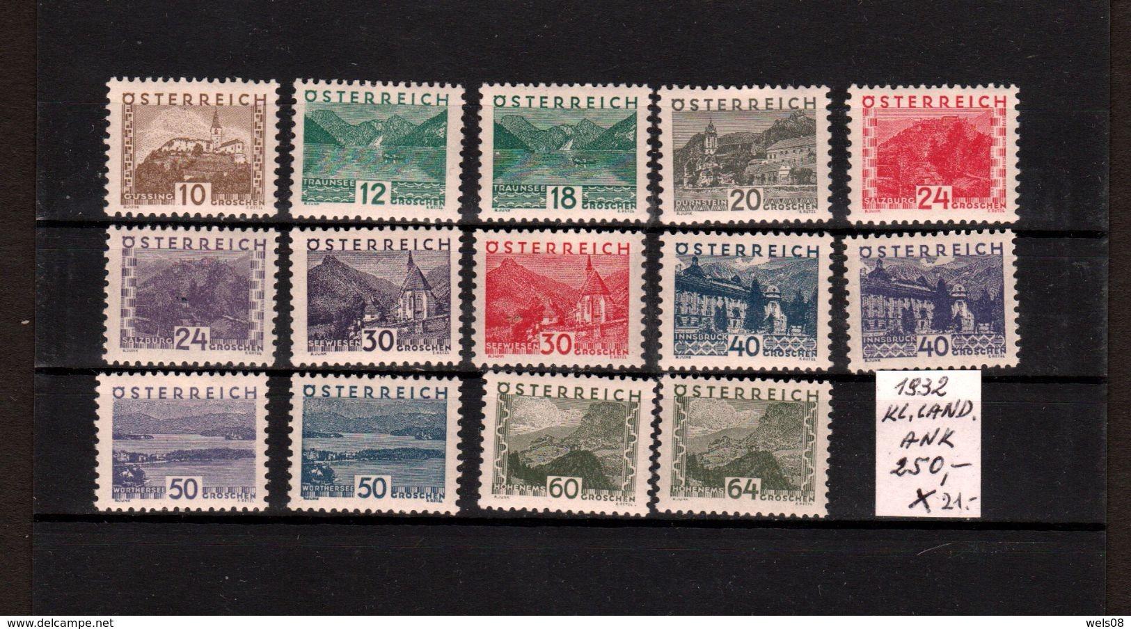 Österreich 1929/0: Landschaftsbilder Klein, Kompl.Satz * ANK 250,--€ (siehe Foto) - 1918-1945 1. Republik
