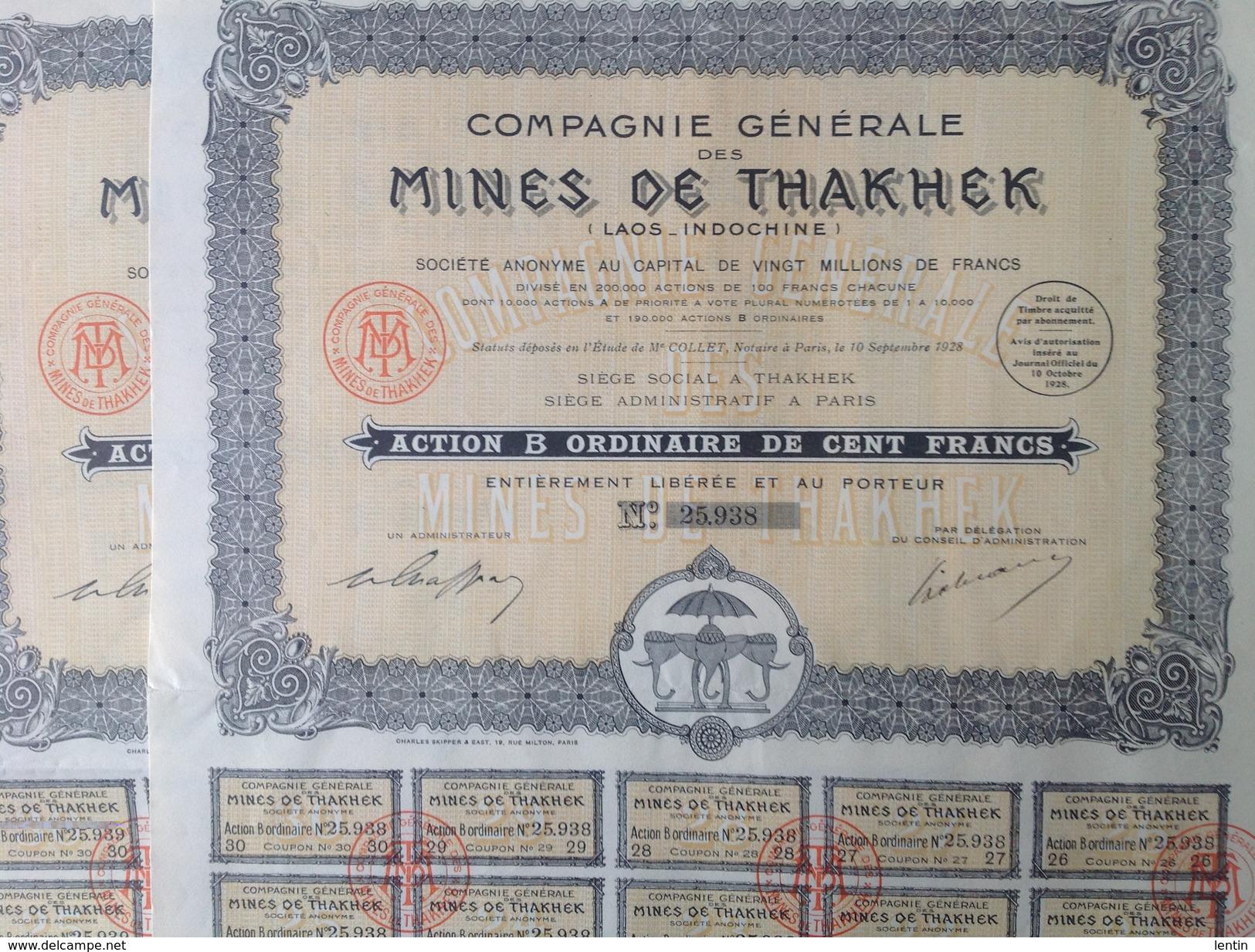 Action - Asie - Mines De Thakhek - Laos Indochine - Paris 1928 - Lot De 6  - Action De 100 Francs - Asie