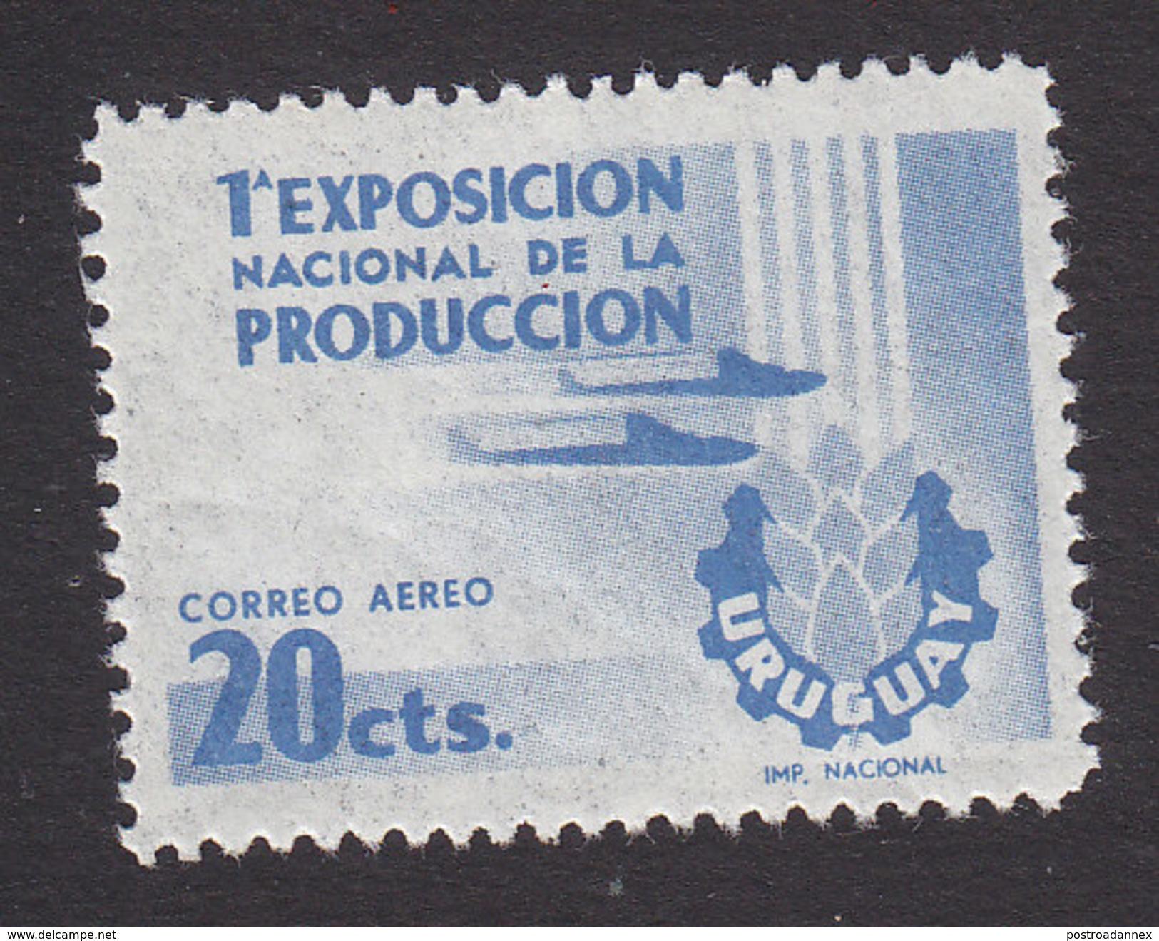Uruguay, Scott #C166, Mint Hinged, Planes And Show Emblem, Issued 1956 - Uruguay