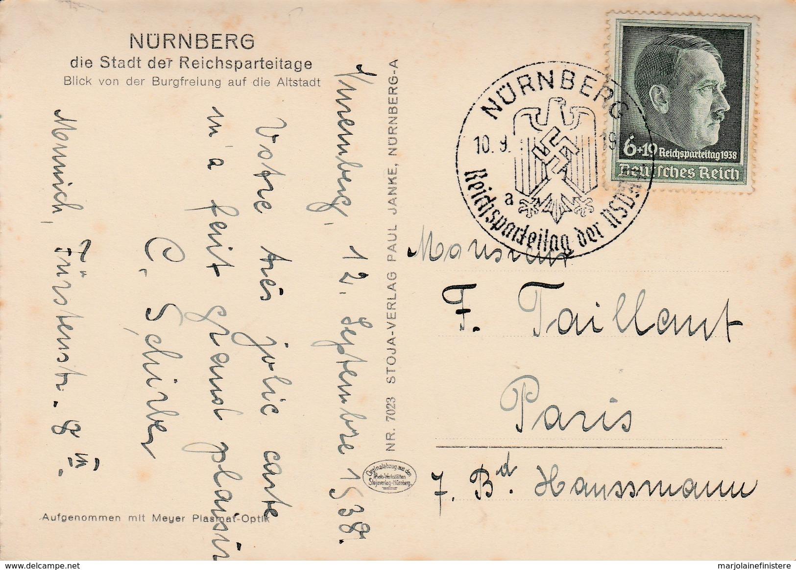 Allemagne - Bavière - Nürnberg. Nüremberg. Die Stadt Der Reichsparteitage. 1938 - Oblitérés