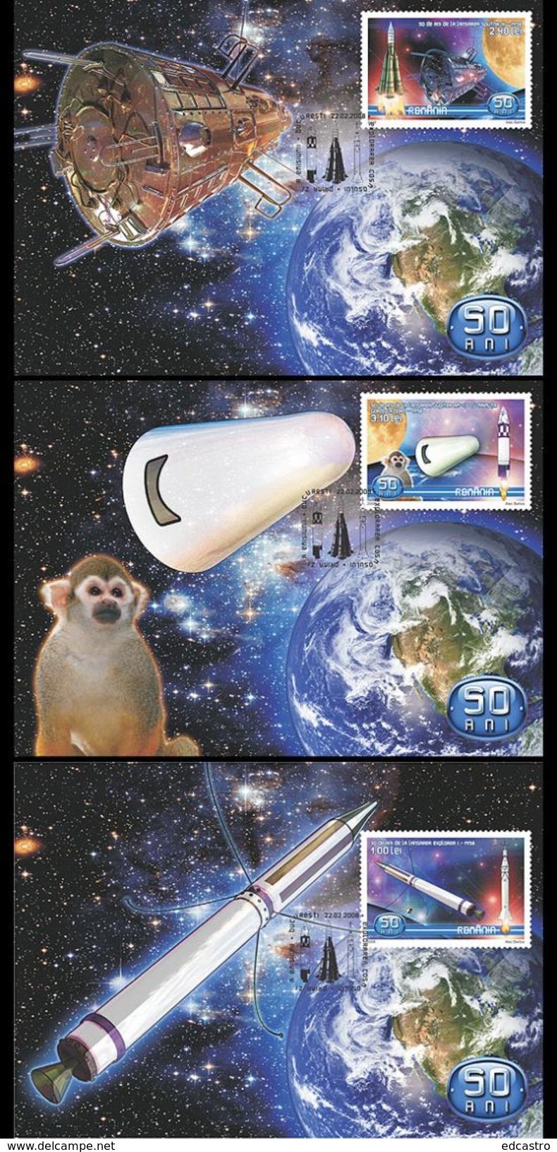 ROMANIA 2008 Three Maximum Cards. Space Exploration - FDC & Commémoratifs
