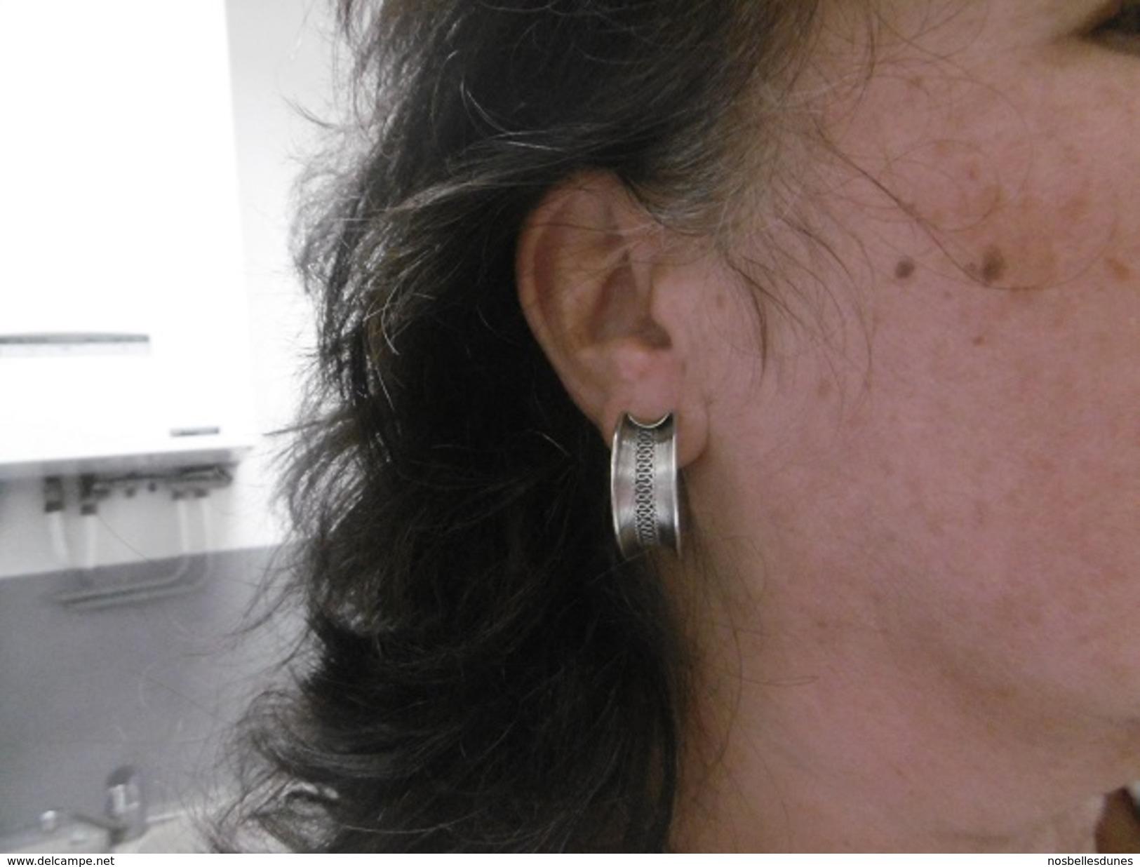 Boucles D'oreilles Créoles   En Argent Massif - Earrings