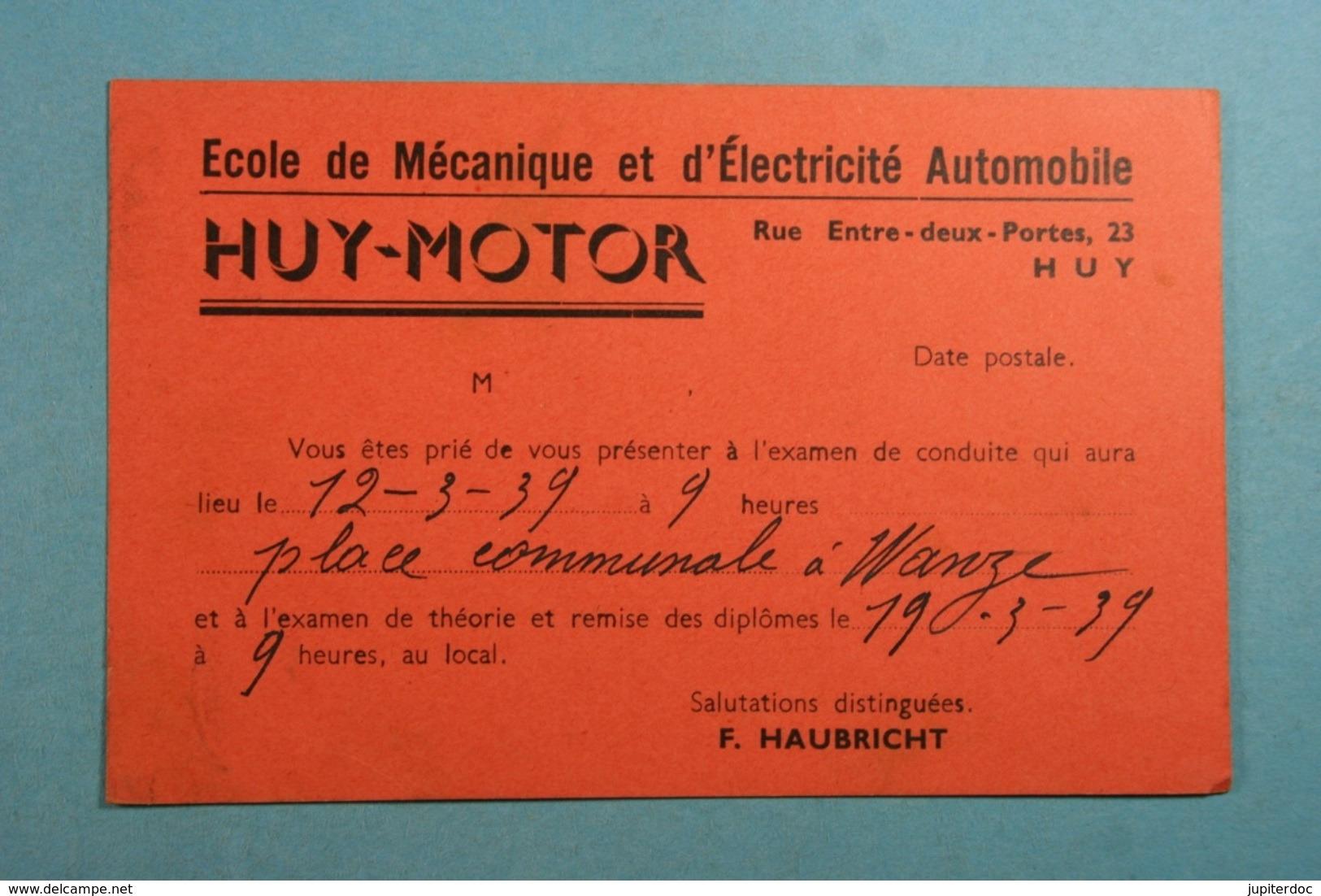Convocation Ecole De Mécanique Et D'Electricité Automobile Huy-Motor - Huy