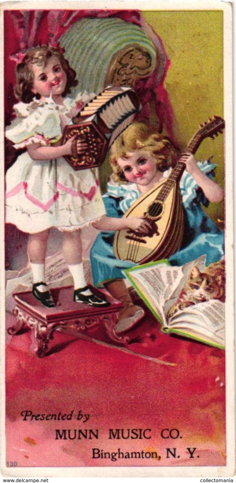 4 Trade Cards Music Munn Music C° Binghamton N.Y. Pianos  Litho Margaretville N.Y. Donovon Kipp Banjo Accordion - Instruments De Musique