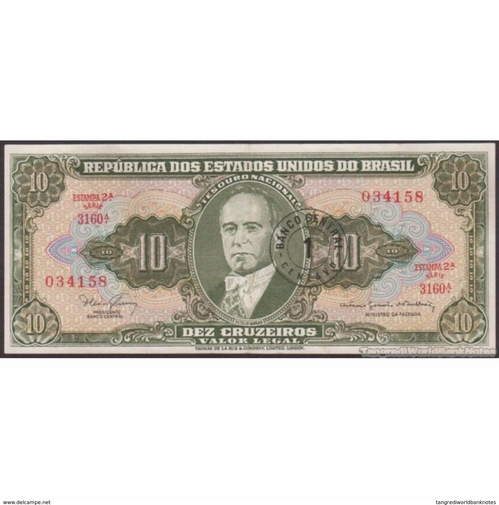 TWN - BRAZIL 183b - 1/10 Centavo/Cruzeiros 1967 Various Series - Signatures: Nogueria & De Bulhões AXF - Brazil