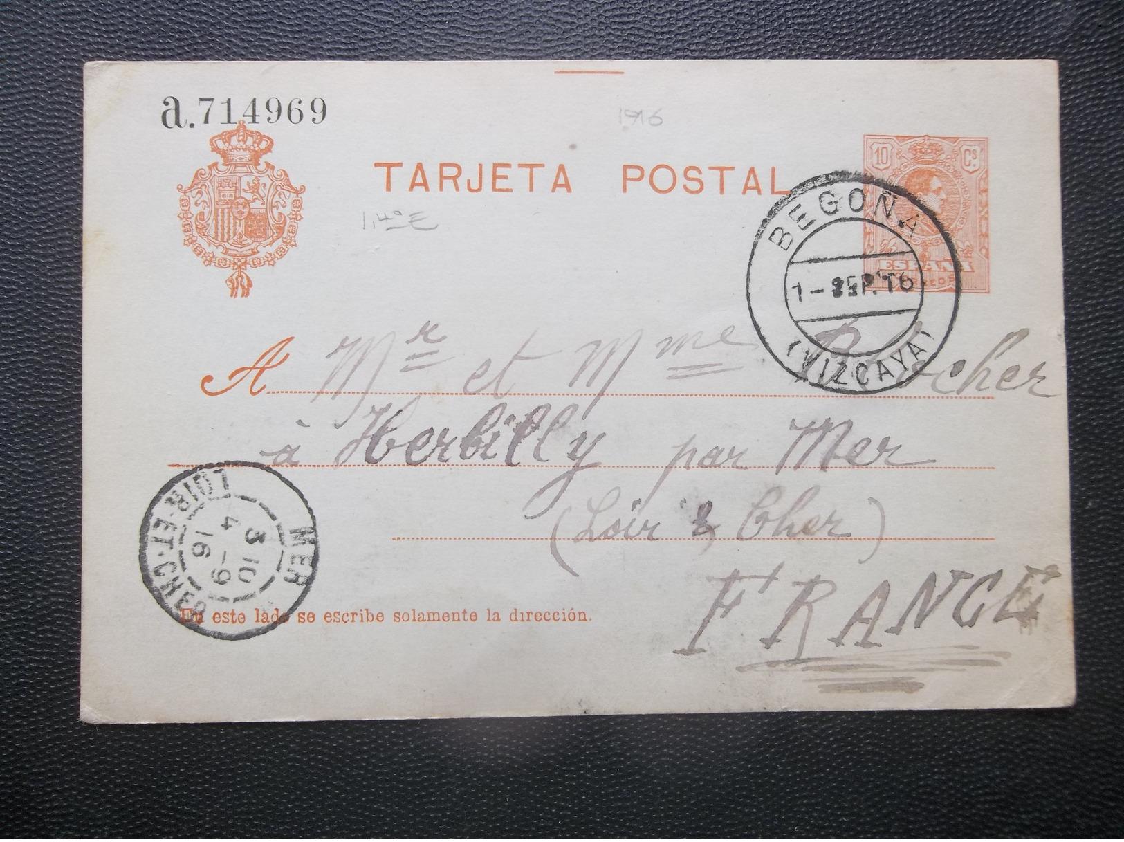 Espana: 1916 Postal Card To France (#PT9) - Stamped Stationery