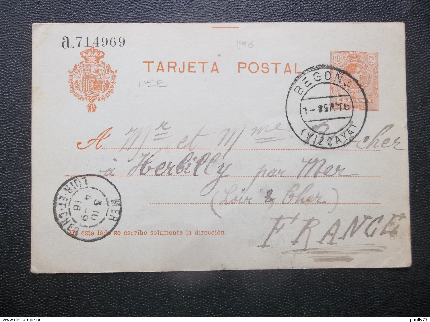 Espana: 1916 Postal Card To France (#PT9) - 1850-1931