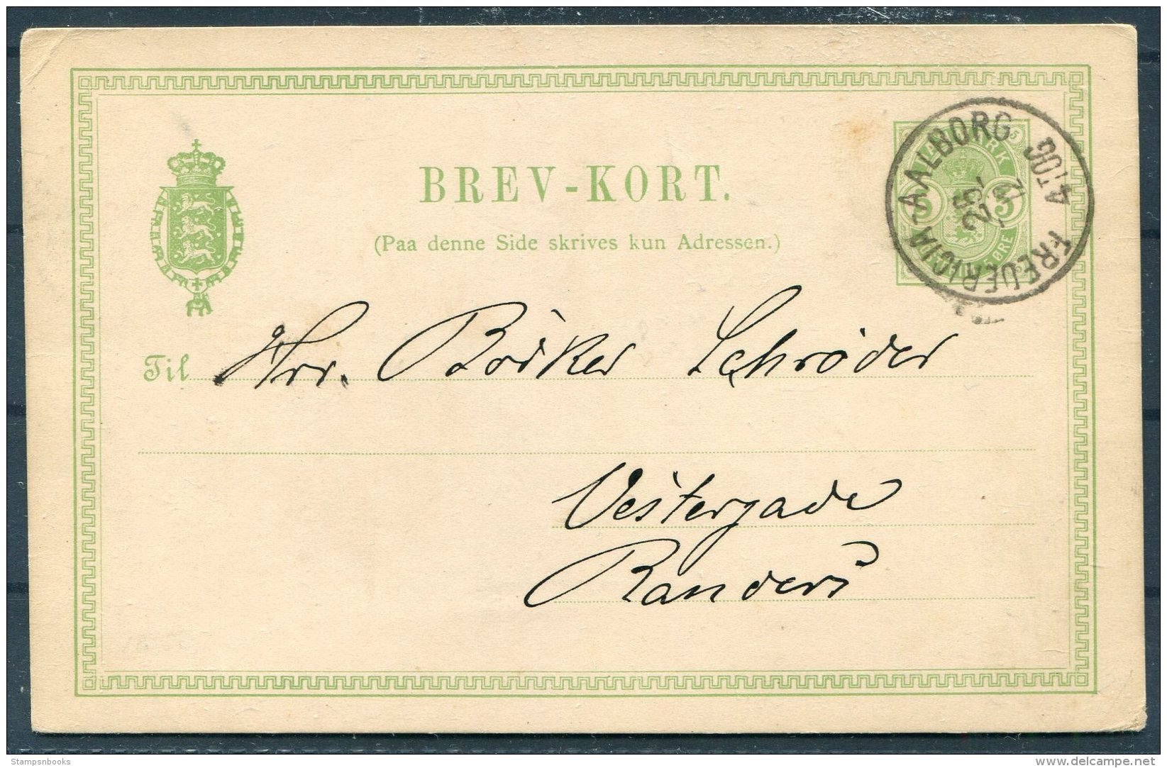 1889 Denmark Stationey Postcard. Vingegaard Pr Onaild Station. Fredericia - Aalborg TPO Railway - Randers - 1864-04 (Christian IX)