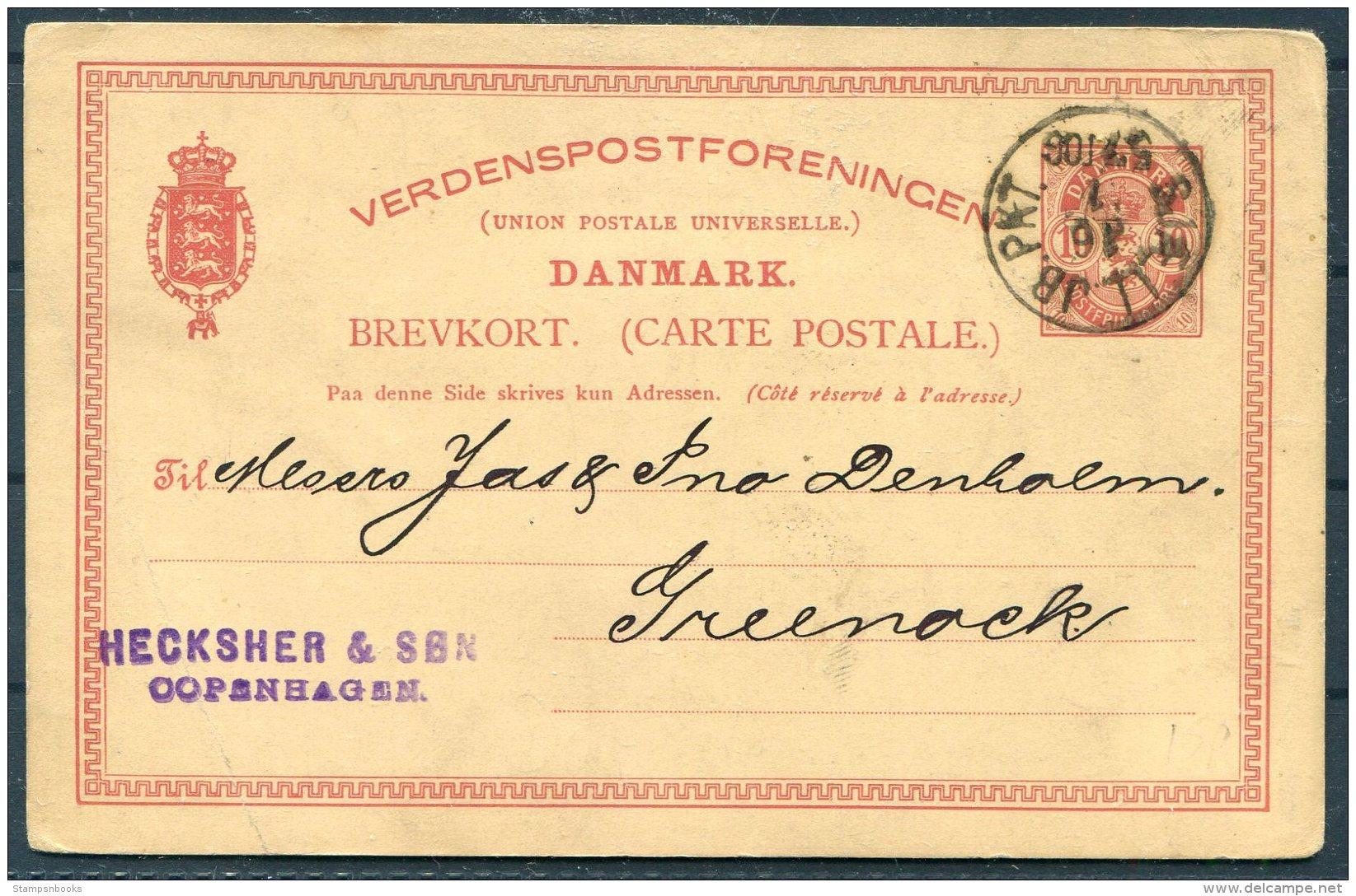 1890 Denmark Stationey Postcard. Railway TPO - Covers & Documents