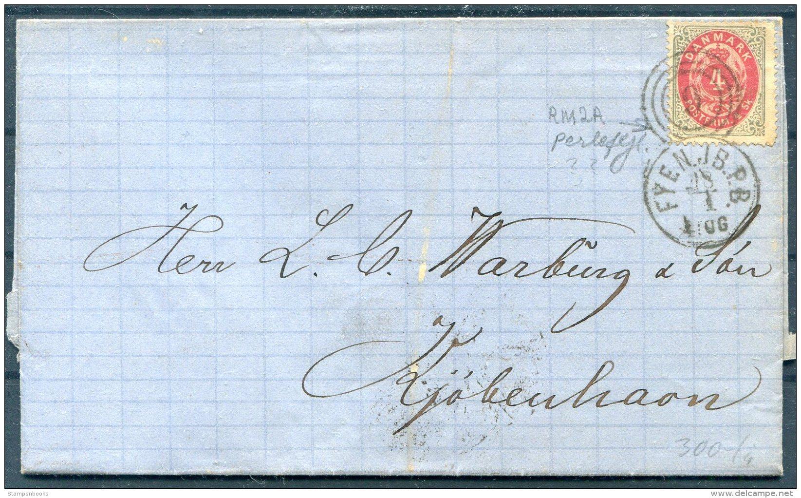 1872 Denmark 4sk Entire. FYEN.JB.PB 9 Railway TPO - 1864-04 (Christian IX)