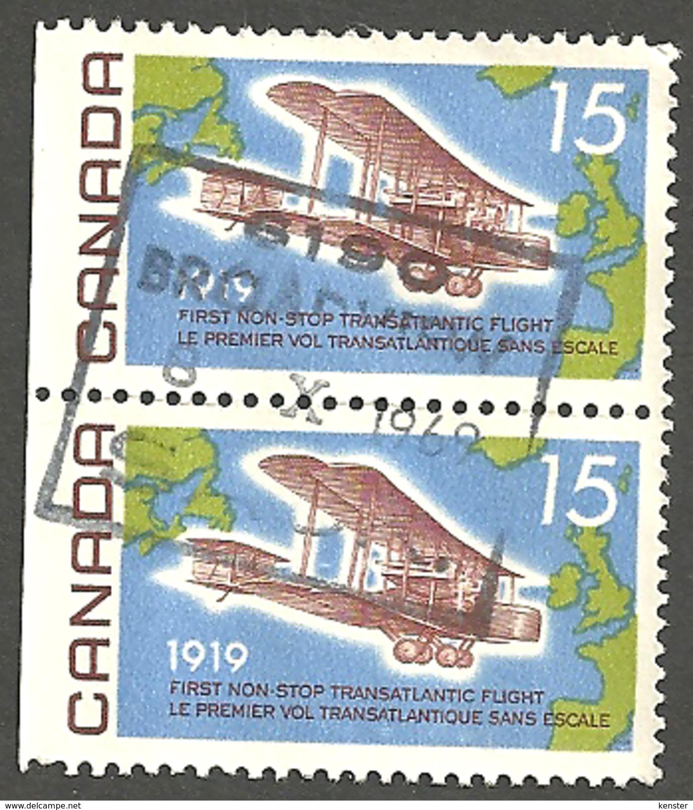 Sc. #494 Vickers Vimy Over The Atlantic Tete-beche Pr. SDC Single Used  1969 K630 - 1952-.... Règne D'Elizabeth II