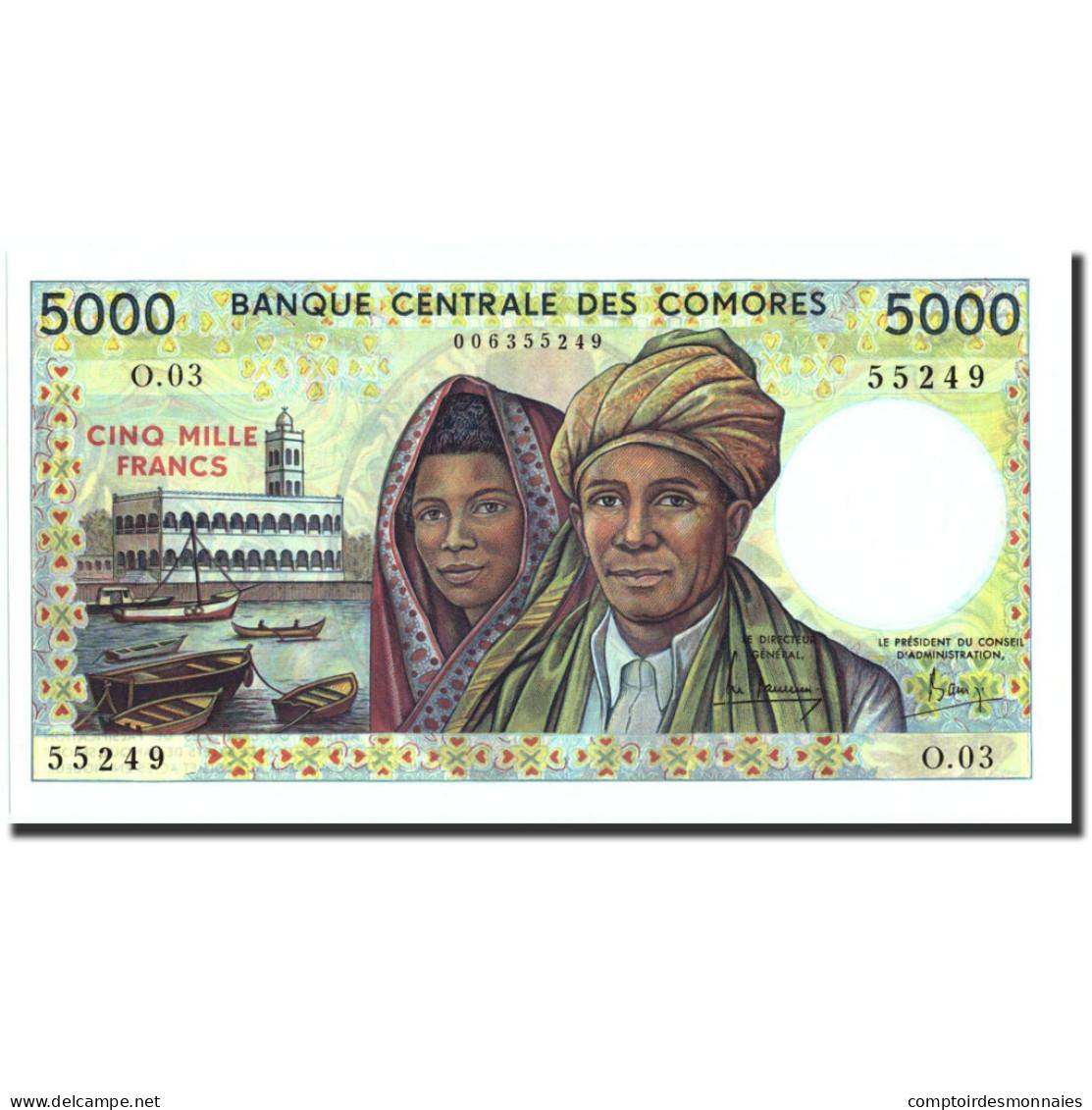 Comoros, 5000 Francs, Undated (1976), KM:12a, NEUF - Comoros
