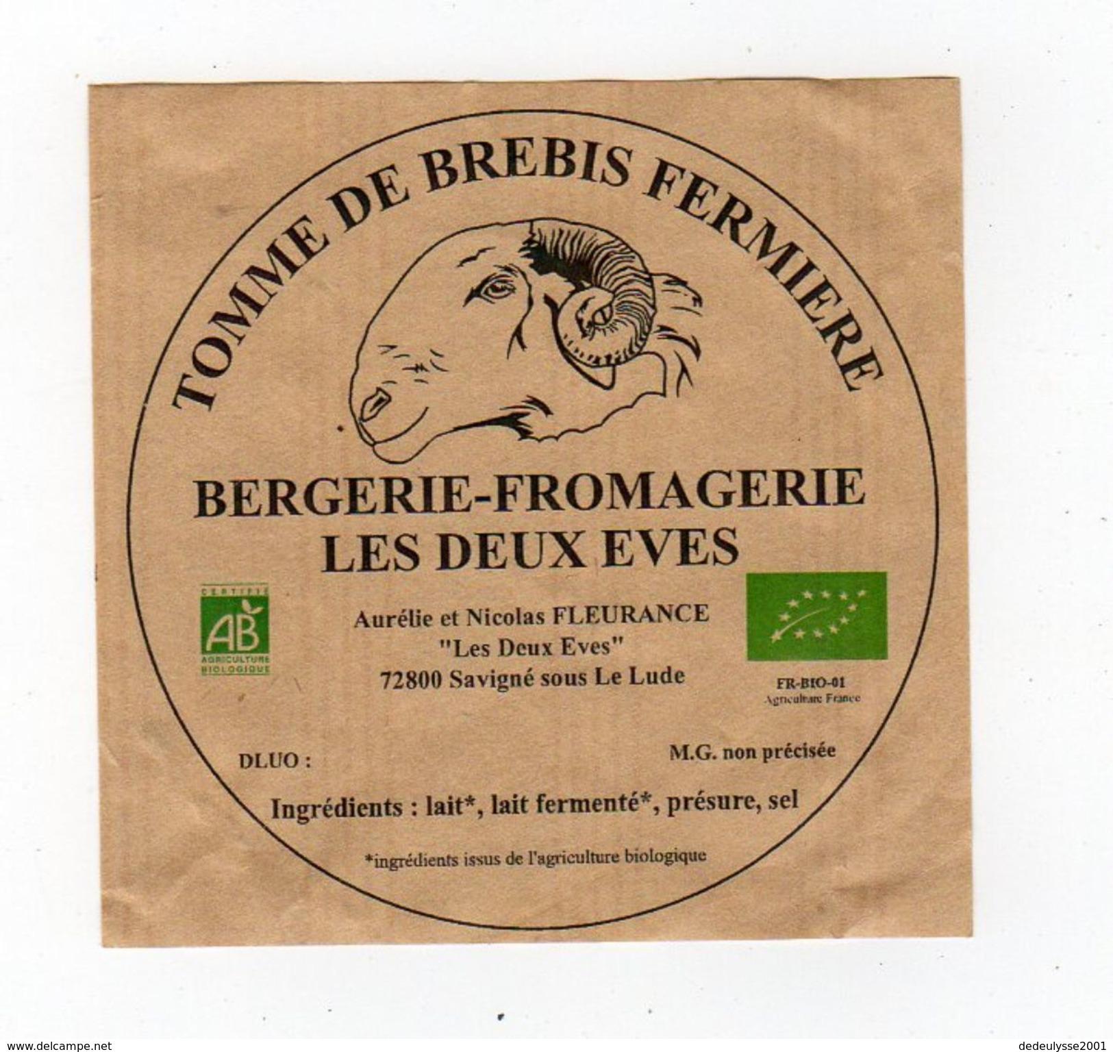 Sept17  721002   étiquette  Fromage   De Brebis Les Deux Eves  Savigné Sous Le Lude - Cheese