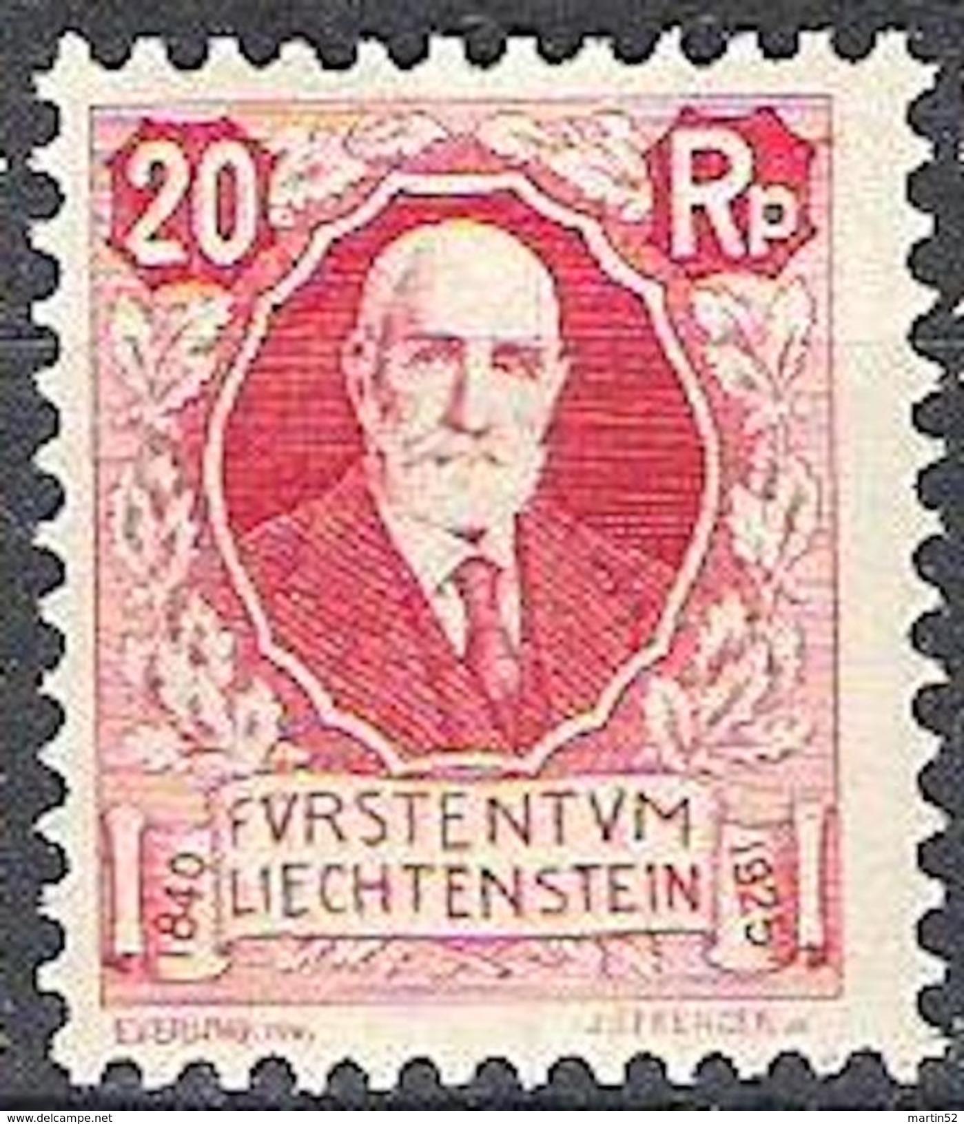 Liechtenstein 1927: 87 Geburtstag Von Fürst Johannes II. Zu W2 Mi+Yv 76 ** MNH (Zu CHF 30.00) - Liechtenstein