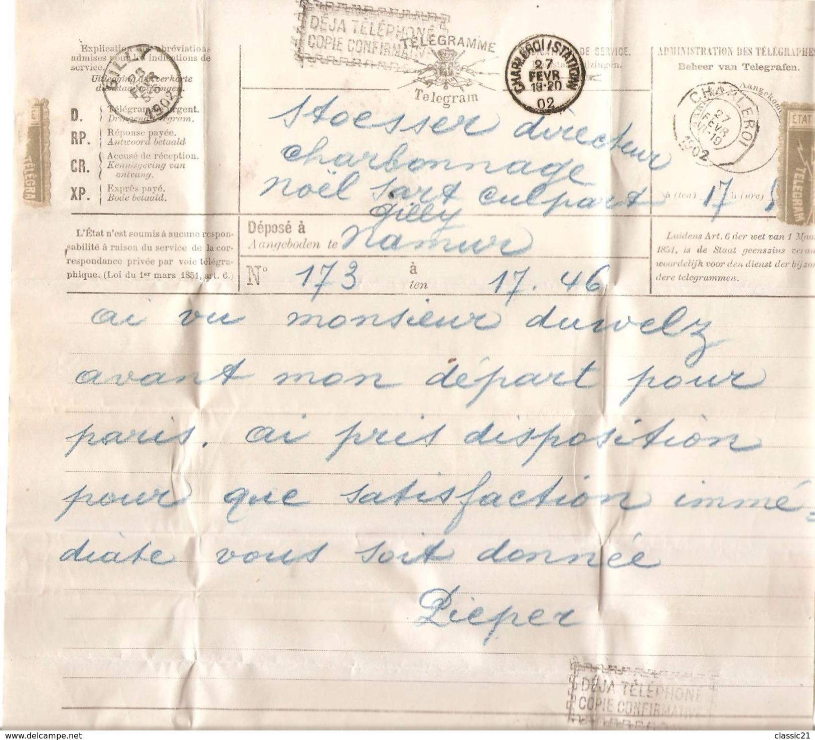Télégramme Déposé à Namur + Griffe Déjà Téléphoné Copie Confirmative C.T.T.Charleroi 27/2/1902+Station Et Gilly 994 - Telekommunikation