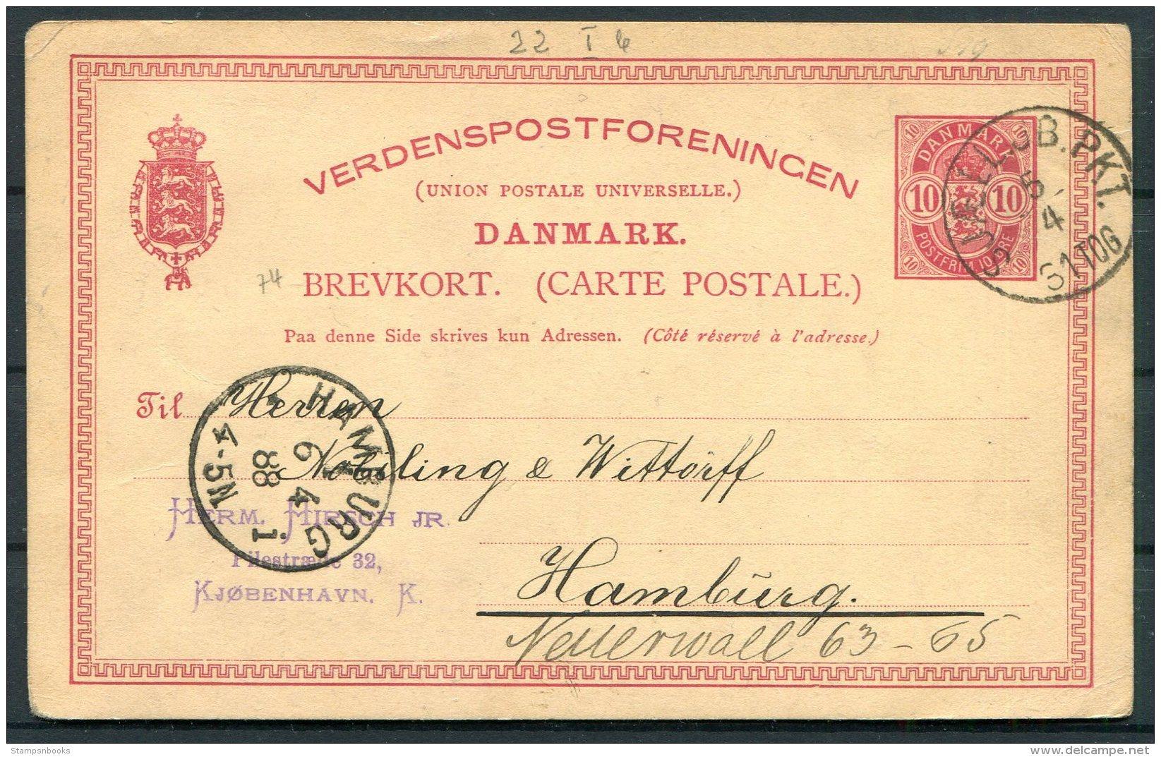 1888 Denmark 10 Ore Stationery Postcard Copenhagen - Hamburg, Germany. Railway TPO - 1864-04 (Christian IX)
