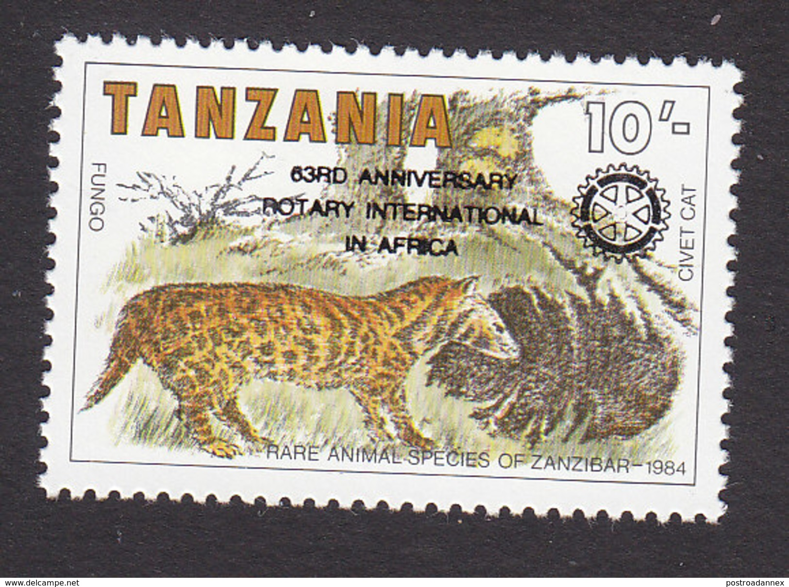 Tanzania, Scott #407, Mint Hinged, 63rd Anniversary Of Rotary Int'l, Issued 1988 - Tanzania (1964-...)