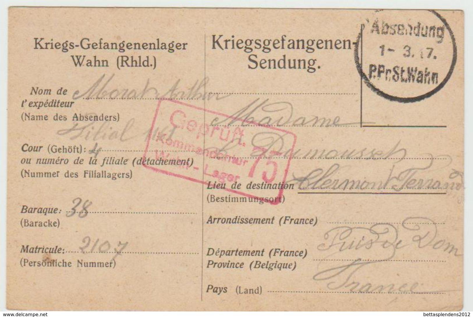 Carte De Prisonnier De Guerre 01/03/1917- St WAHN - Kriegsgefengenen-Sendung  ( Ref 515 ) - Marcophilie (Lettres)