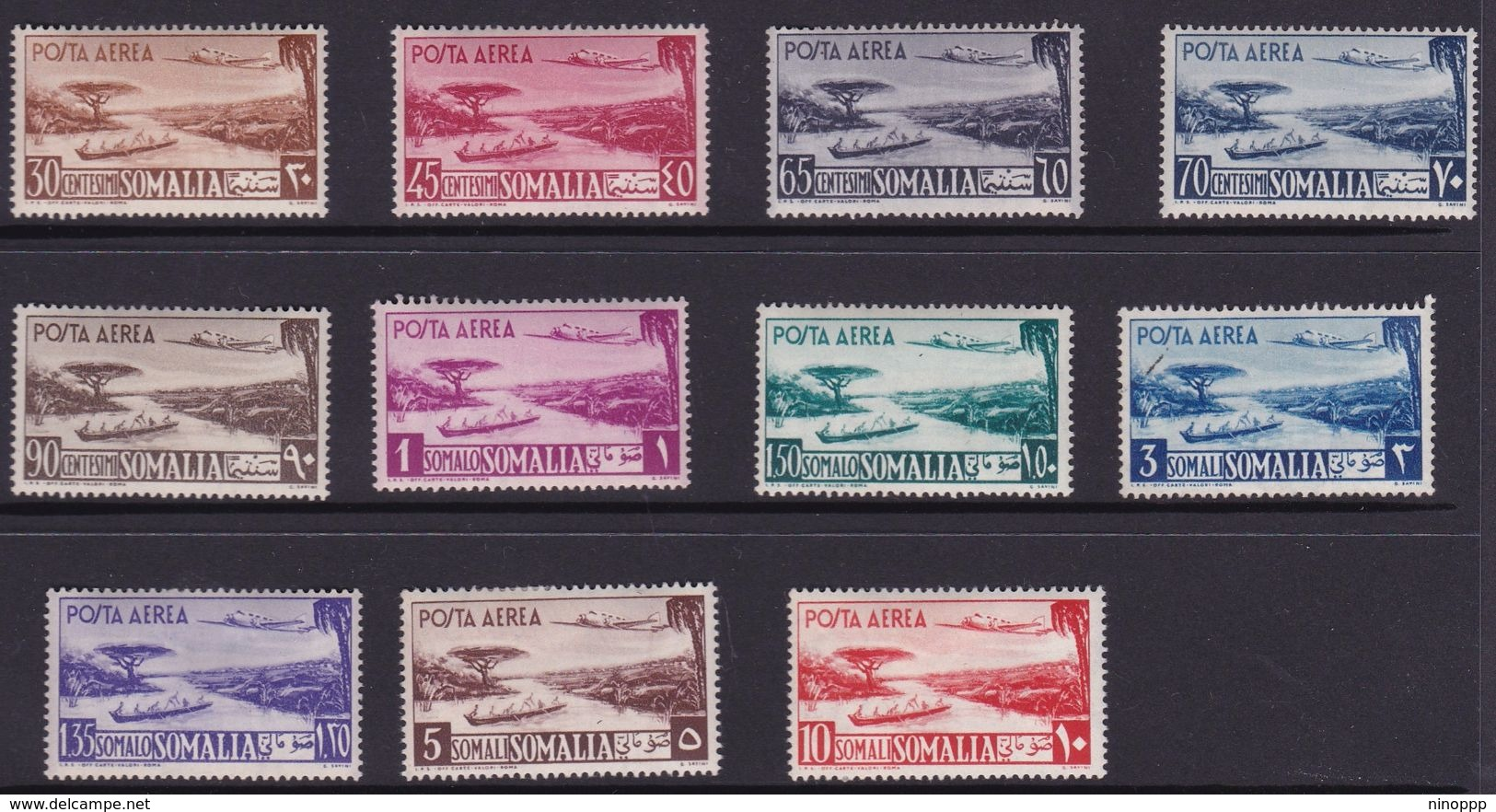 Somalia Scott C17-27 1950 Air Post Definitives, Mint Hinged - Somalie (AFIS)