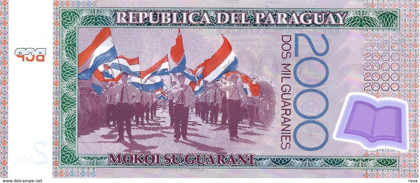 PARAGUAY 2000 GUARANIES PURPLE WOMAN FRONT PEOPLE BACK POLYMER ND(2009) P.? UNC READ DESCRIPTION - Paraguay