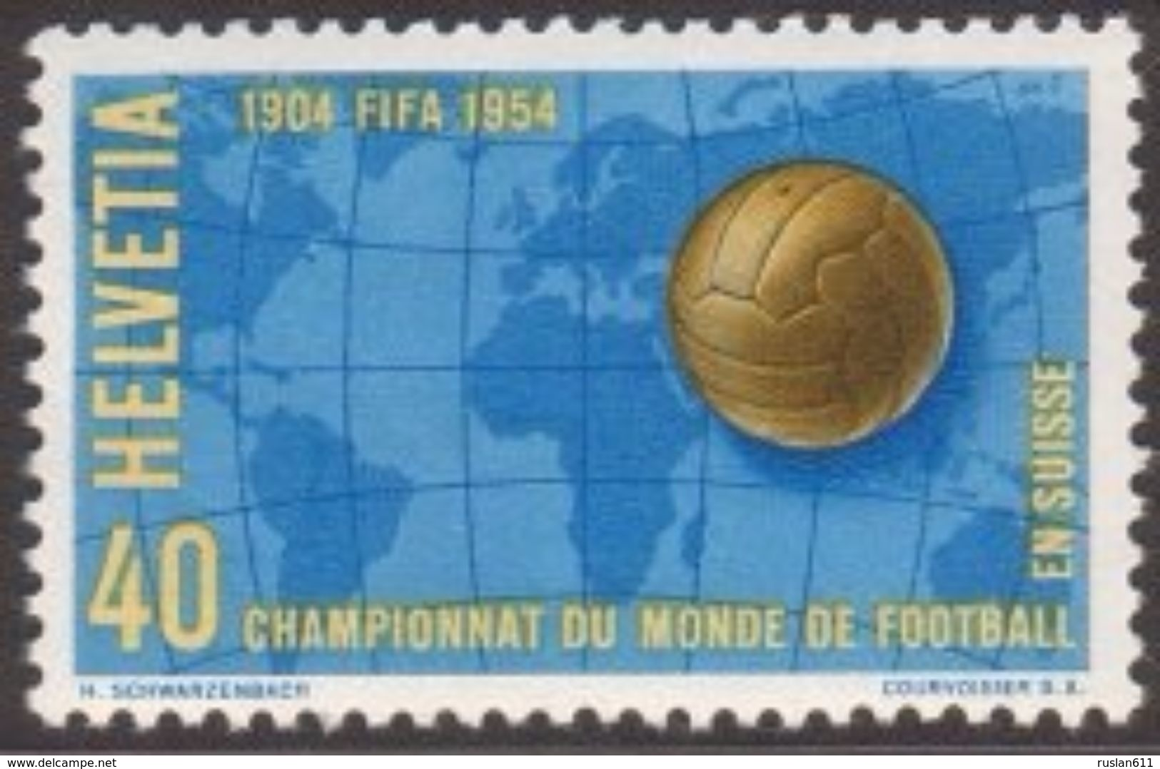 Soccer Football Switzerland #596 1954 World Cup Switzerland MNH ** - 1954 – Suisse