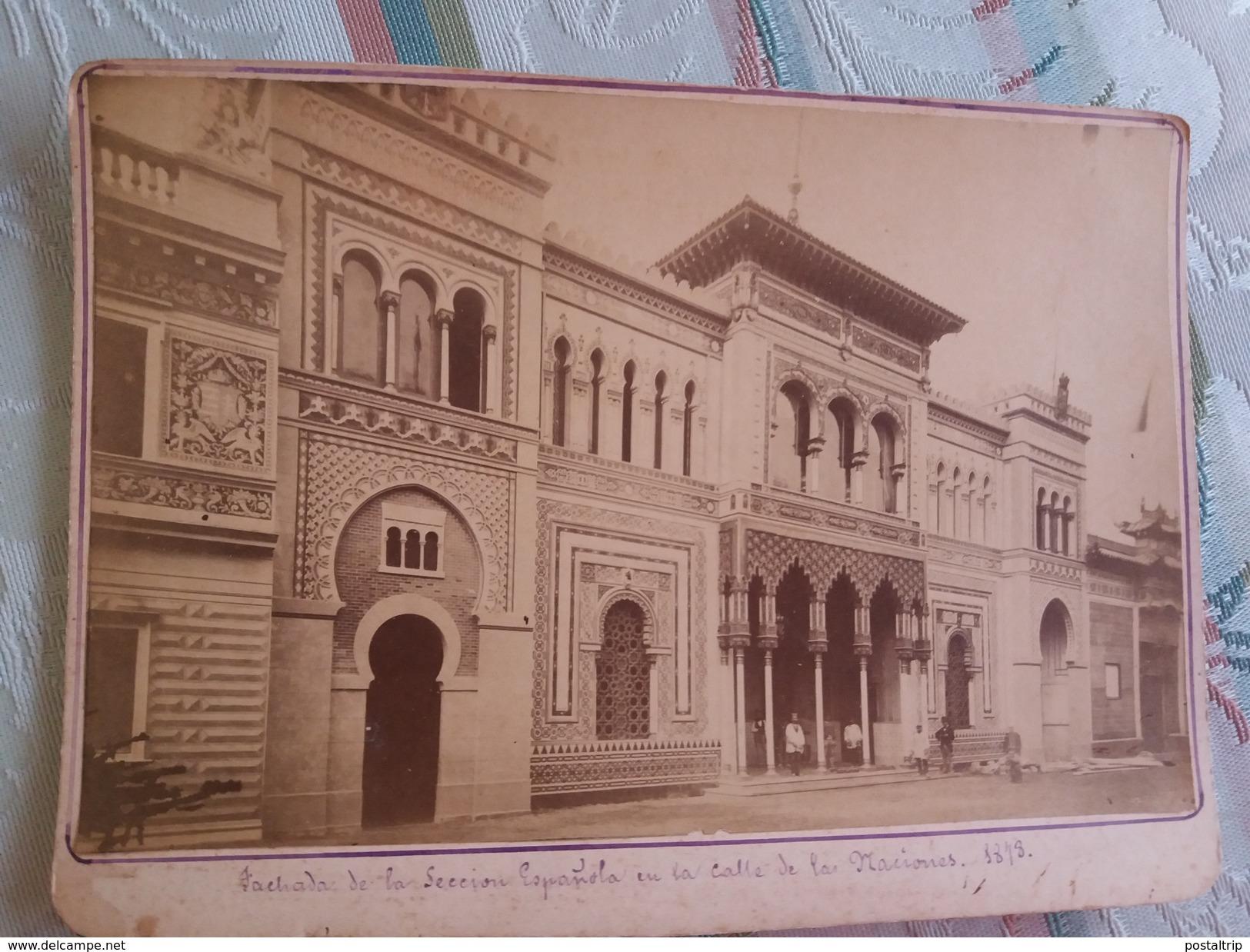 FACHA DE LA SECCION ESPAÑOLA EN LA CALLE DE LAS NACIONES 1878 - FOTOGRAFIA ANTIGUA 16.5 X 10.5 CM - Fotos