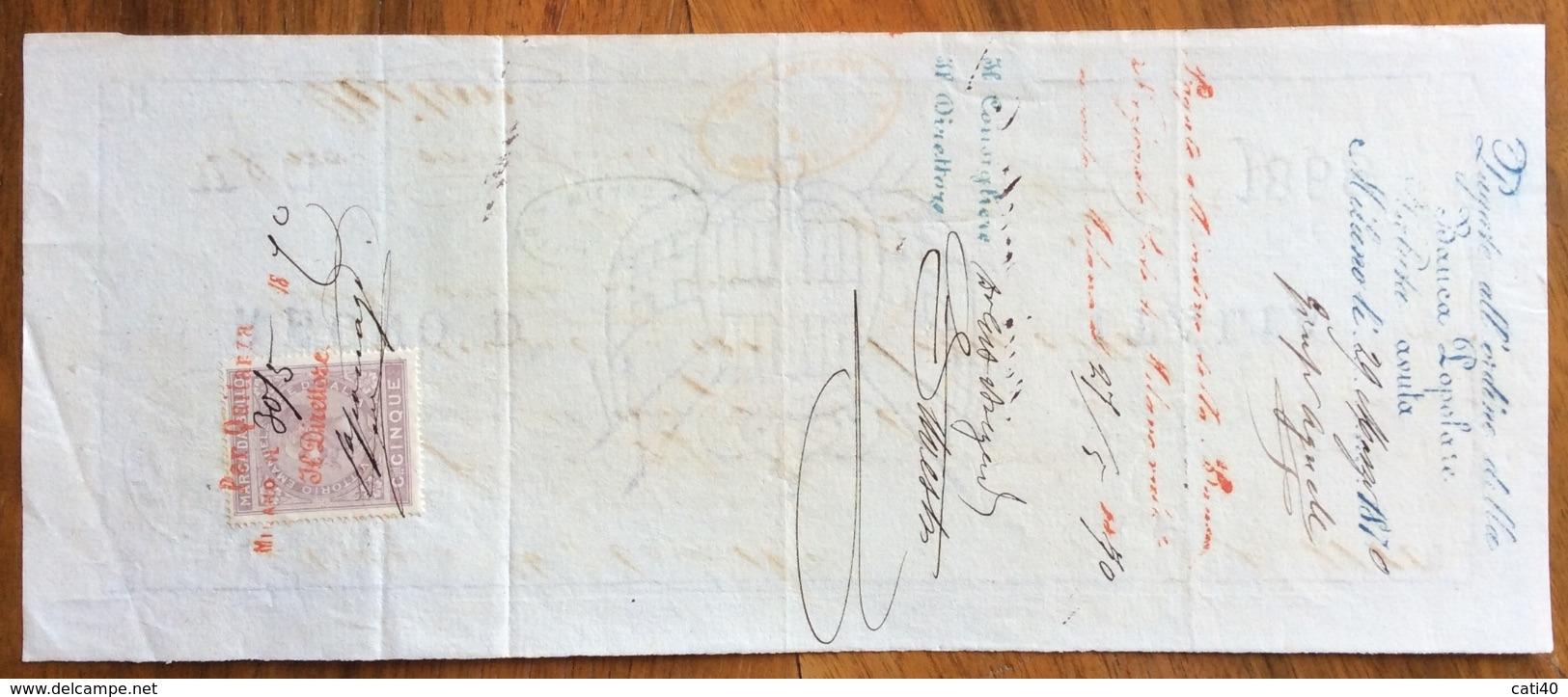 MARCA DA BOLLO  SU CAMBIALE(1868)  MILANO 1870  DI 1800 LIRE ITALIANE CON  FIRME AUTOGRAFE  DOCUMENTO ORIGINALE - Cambiali