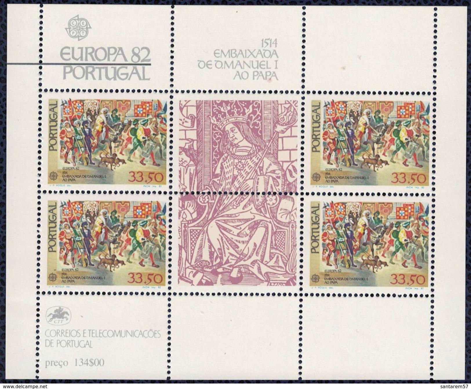 Portugal 1982 Bloc Feuillet Neuf Avec Gomme Ambassade De D. Manuel I Au Pape - 1910-... République