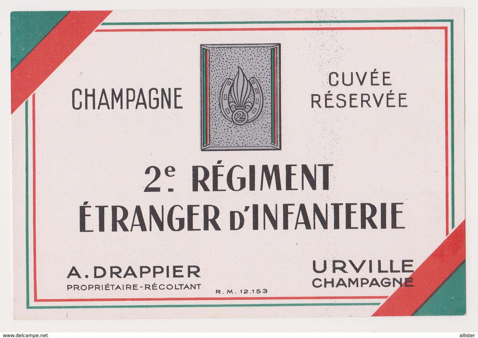 Etiquette Champagne ( DRAPPIER Cuvée Réservée Du 2e Régiment Etranger D'Infanterie ) {S38-17} - Posters