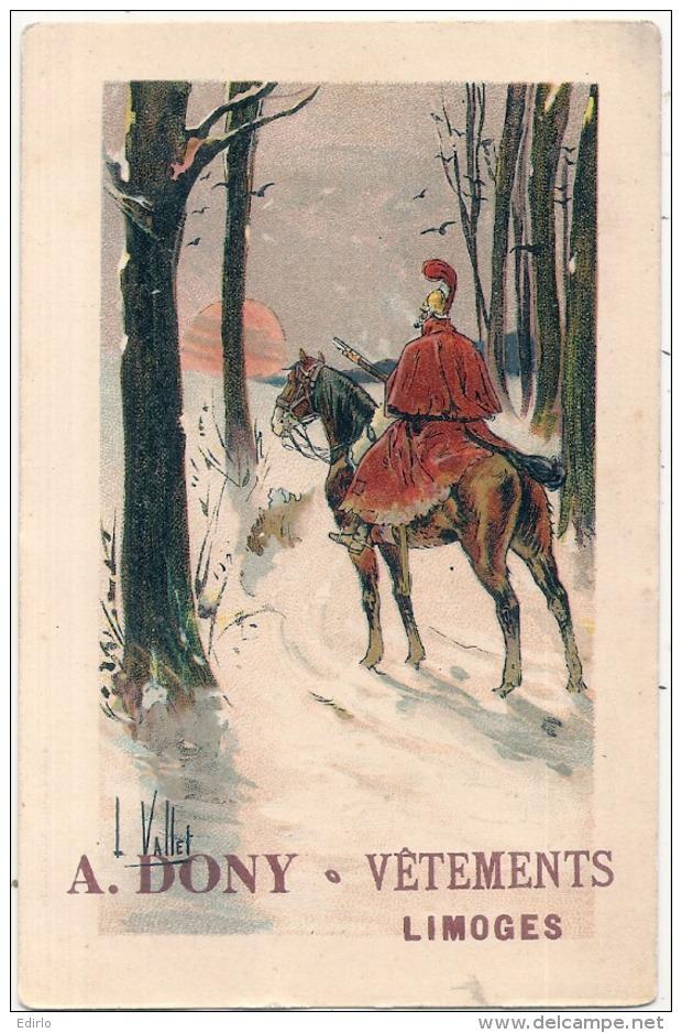 ---- 87 ----  Carte Publicitaire A.DONY Vétements LIMOGES - Illustrateur L Vallette - Soldat à Cheval - - Autres Illustrateurs