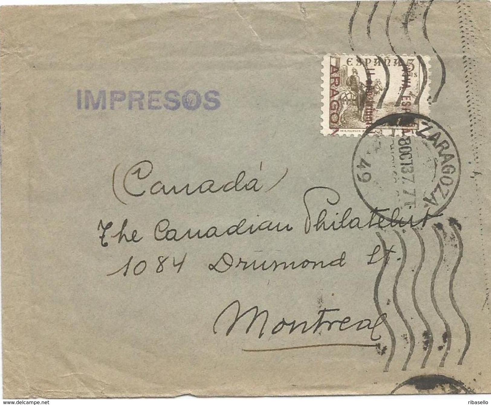 España 1937. Carta De Zaragoza A Montreal. Patriotico. Censura. - Marcas De Censura Nacional