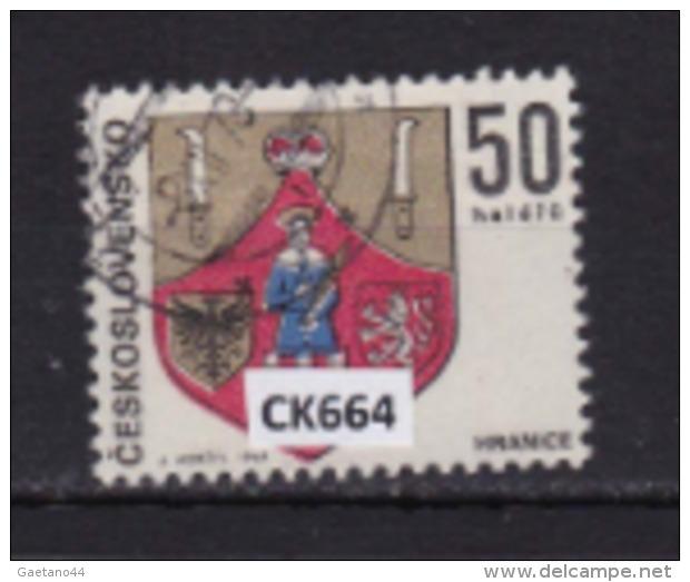 """Cecoslovacchia 1969: Francobollo Usato Da 60 H.  Della Serie """"Stemmi Di Città. 2^ Serie"""". - Tschechoslowakei/CSSR"""