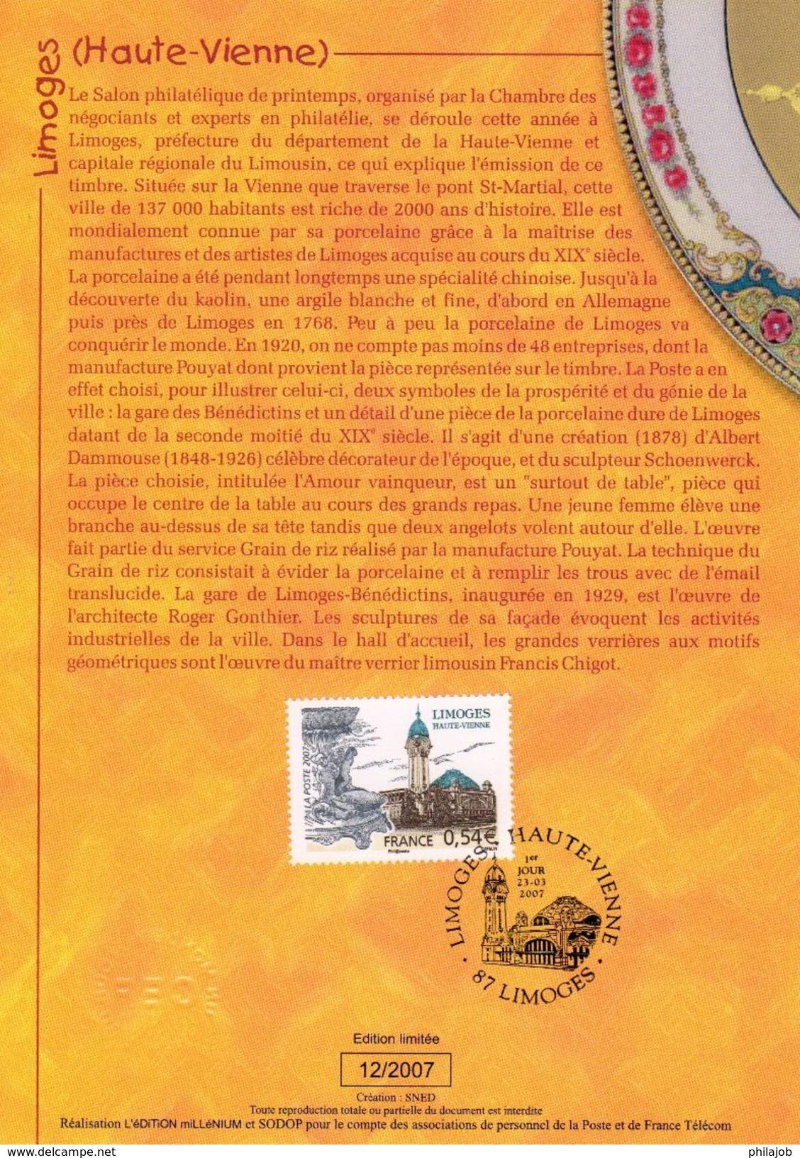 """Encart 1er Jour De 2007 """" LIMOGES """" N° YT 4029. Voir Les 2 Scans. - Documents De La Poste"""