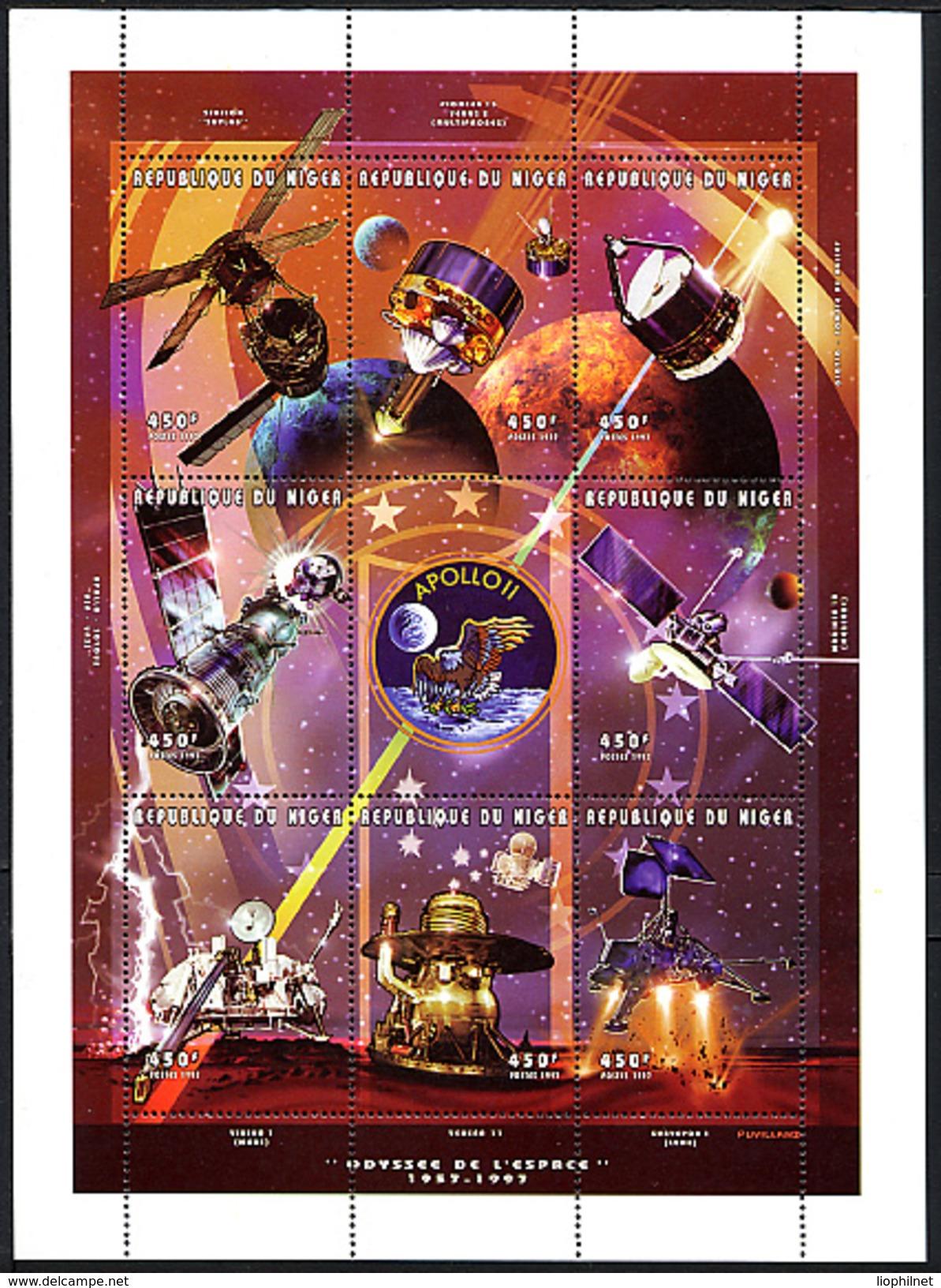 NIGER 1997, Espace Skylab Apollo-Soyouz Mariner 10 Venera II..., Feuillet 8 Valeurs, Neuf / Mint. R417 - Space