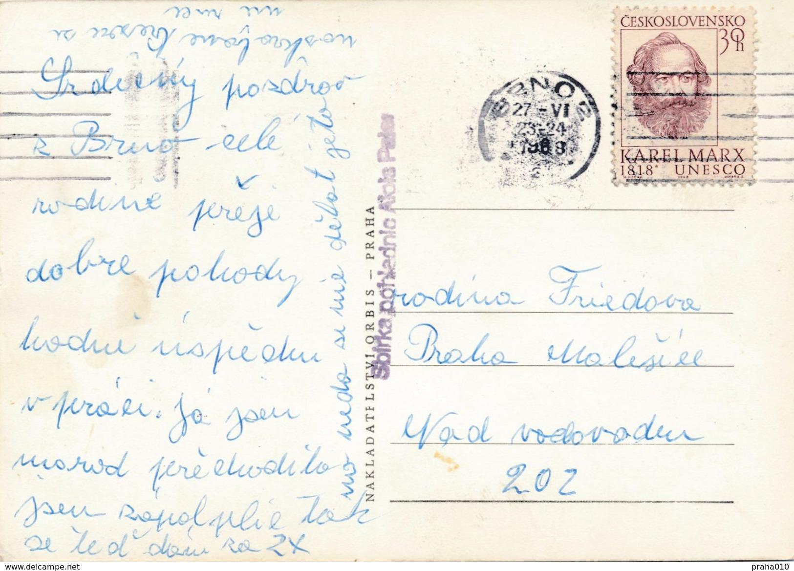 M0199 - Czechoslovakia (1968) Brno 2 (machine Postmark); Postcard: Brno; Tariff: 30h (stamp: Karl Marx (1818-1883)) - Tschechoslowakei/CSSR