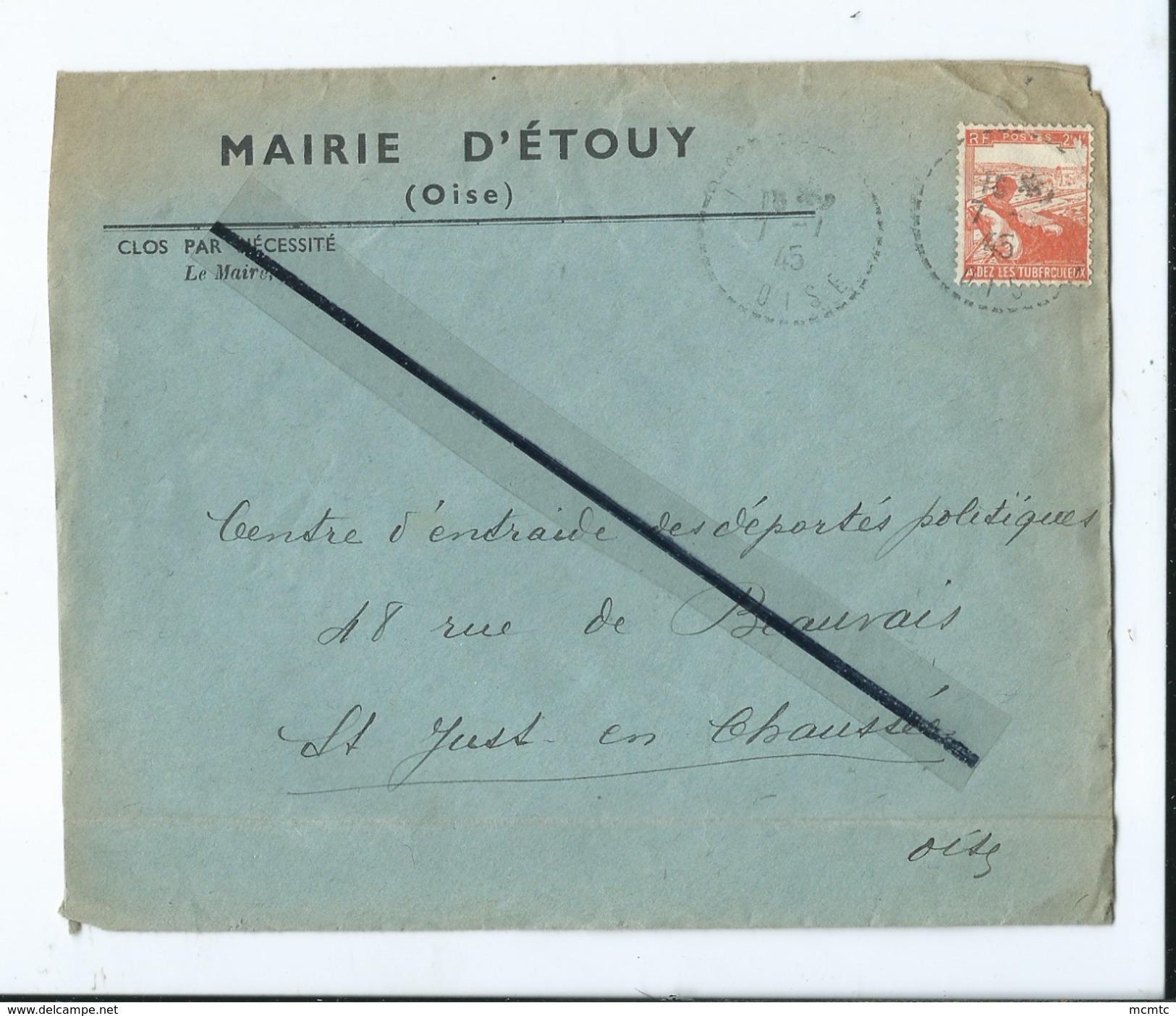 Enveloppe Ancienne De 1945 Timbrée - Mairie D'Etouy  -(Oise ) - Marcophilie (Lettres)