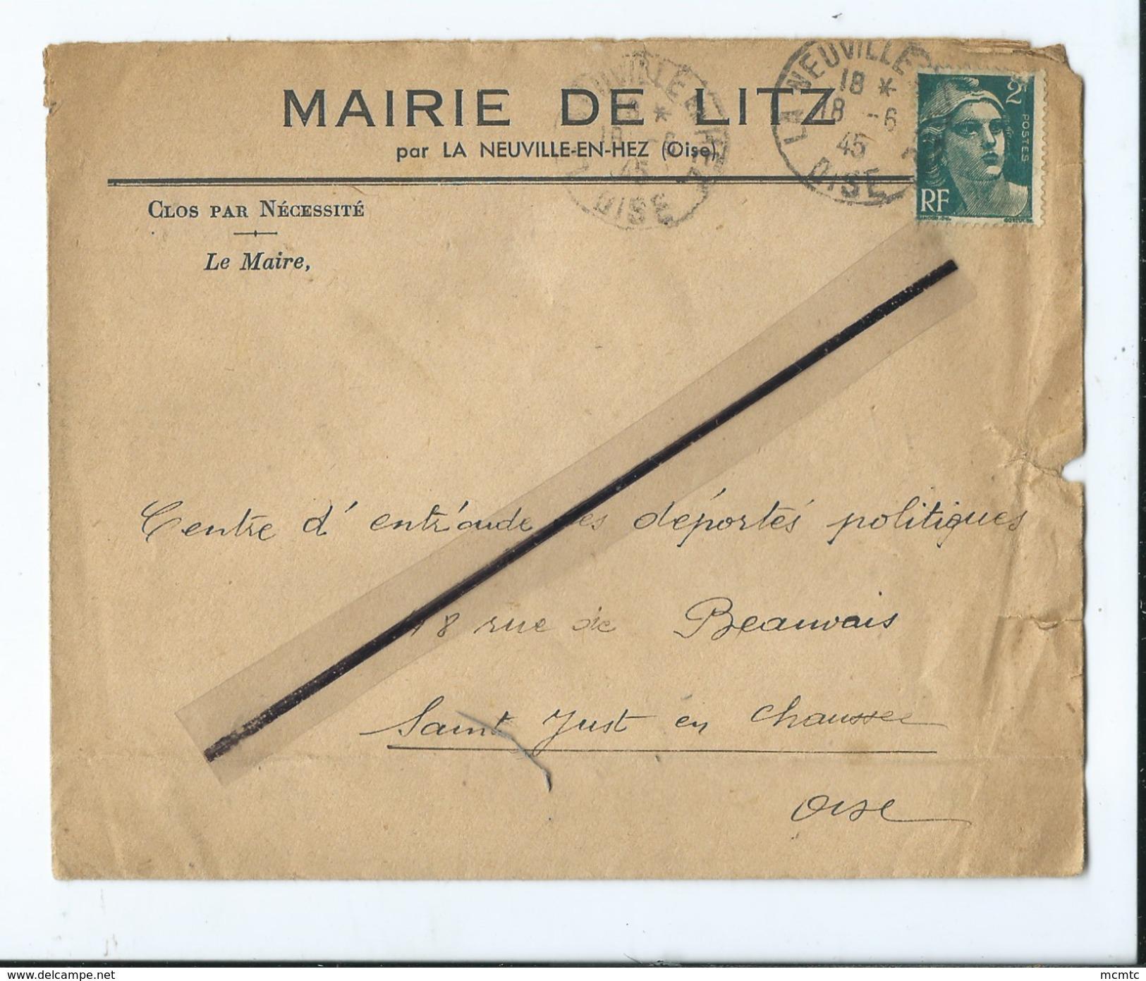 Enveloppe Ancienne De 1945 Timbrée - Mairie De Litz Par La Neuville En Hez  -(Oise ) - Marcophilie (Lettres)