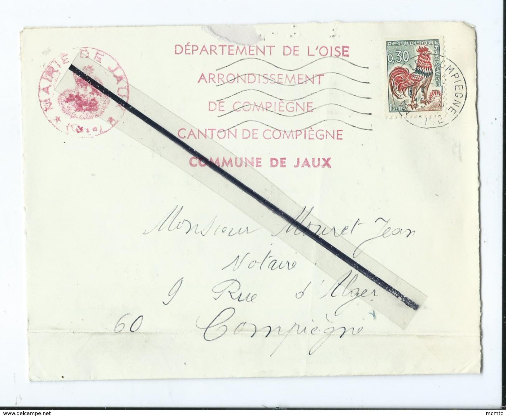 Enveloppe Ancienne  Timbrée - Mairie , Commune De Jaux ,arrondissement , Canton De Compiègne -   Dest- Notaire - Marcofilie (Brieven)