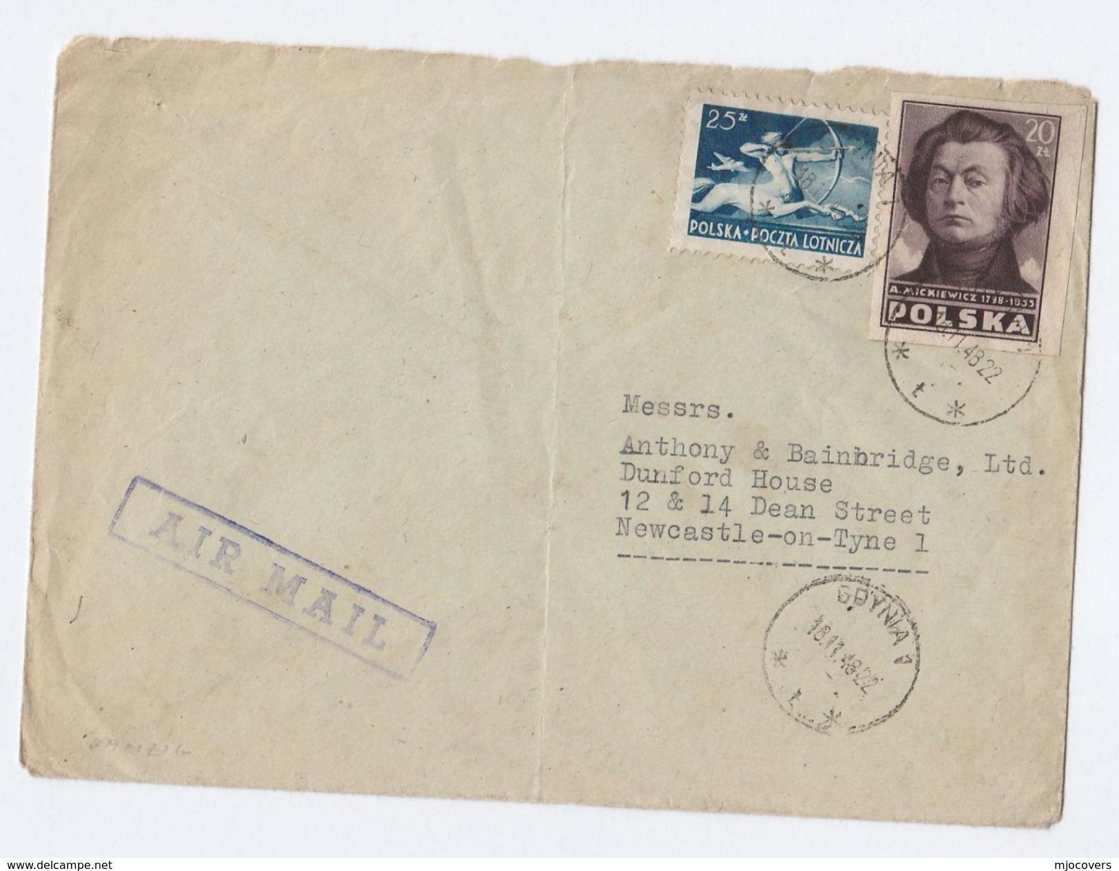 1948 Gdynia POLAND COVER Stamps 25z AIRMAIL Archery 20z Mickiewicz Imperf To GB - Covers & Documents